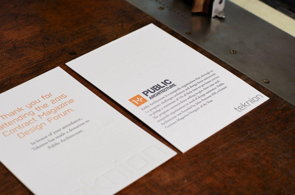 Teknion, Bella Forte Designs, letterpress, embossing