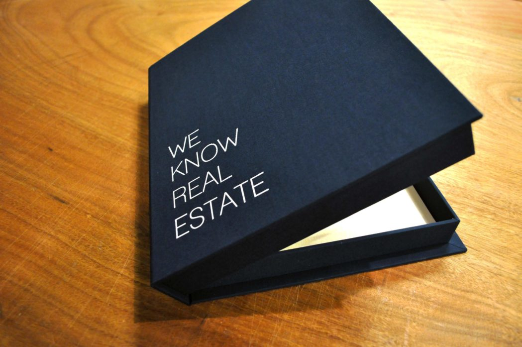real estate, bella forte designs, custom clamshell box, screen printing